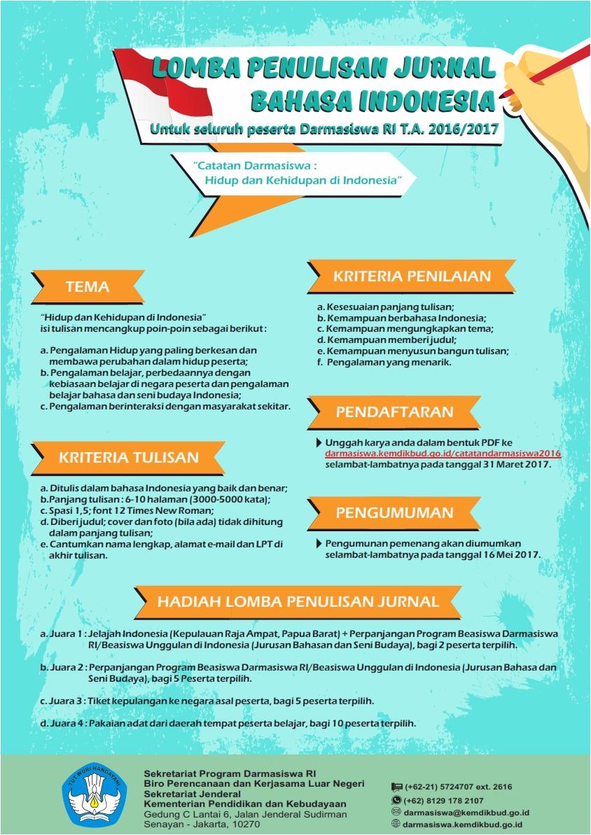 Lomba Penulisan Jurnal Bahasa Indonesia
